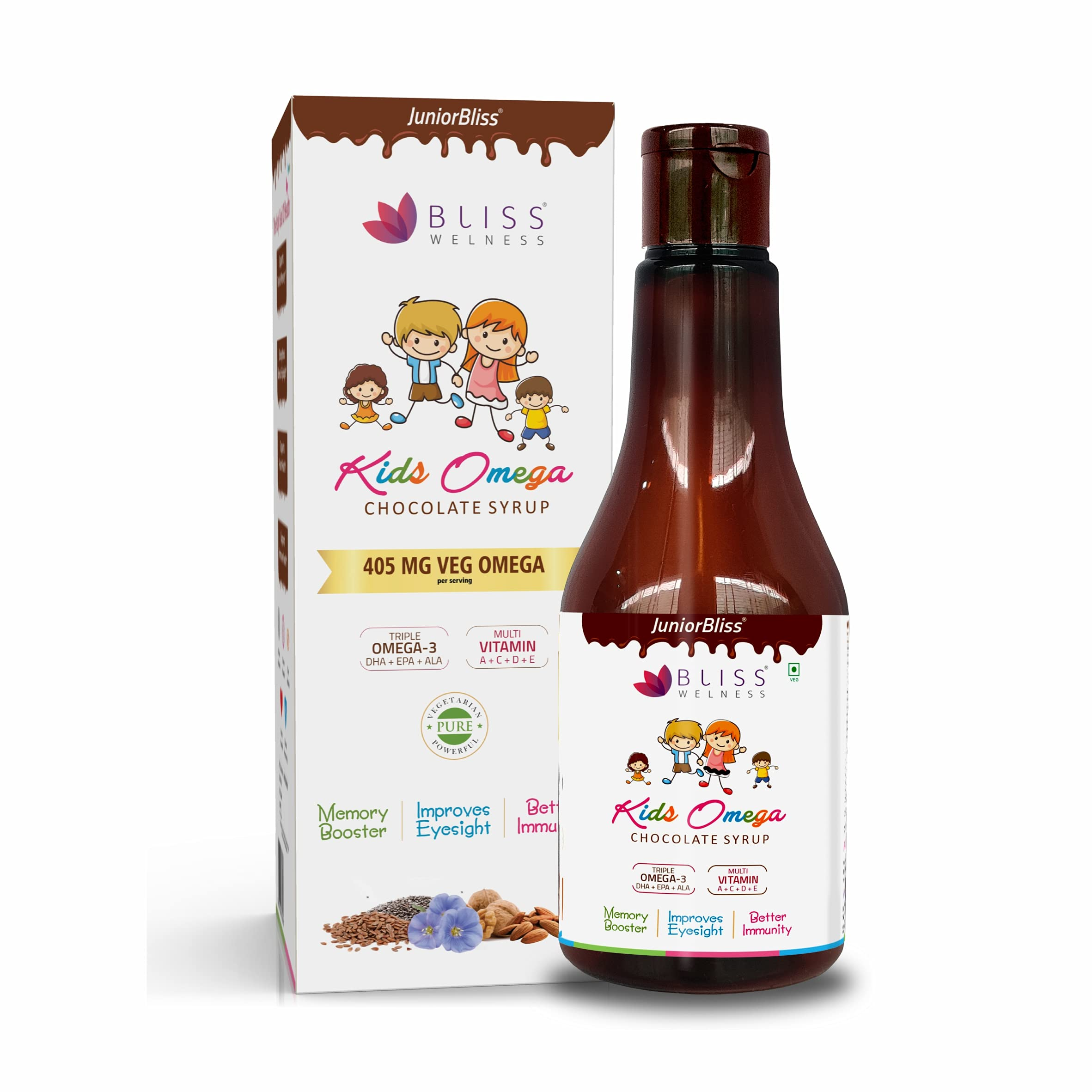 Bliss Welness Junior Bliss Kids Omega 3 6 9 with Omega 3 300MG (DHA 100mg EPA 30mg ALA 170mg) Vitamin A C D E Multivitamin Supplement  Chocolate Flavor Syrup