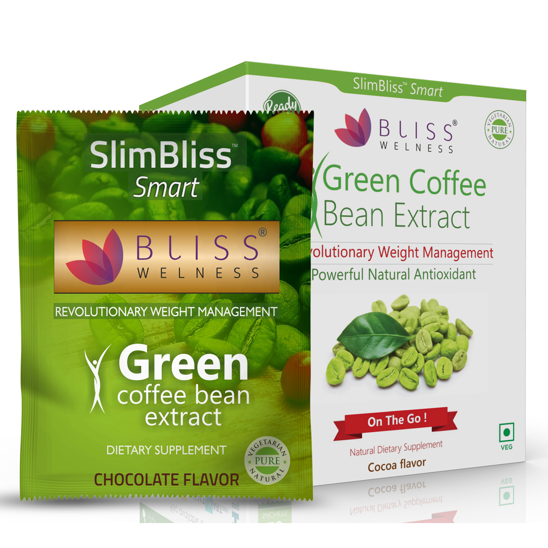 Bliss Welness On-the-Go 'SlimBliss Smart' Green Coffee Bean Extract 50% CGA Ready-to-Eat Cocoa Flavor- 20 Servings