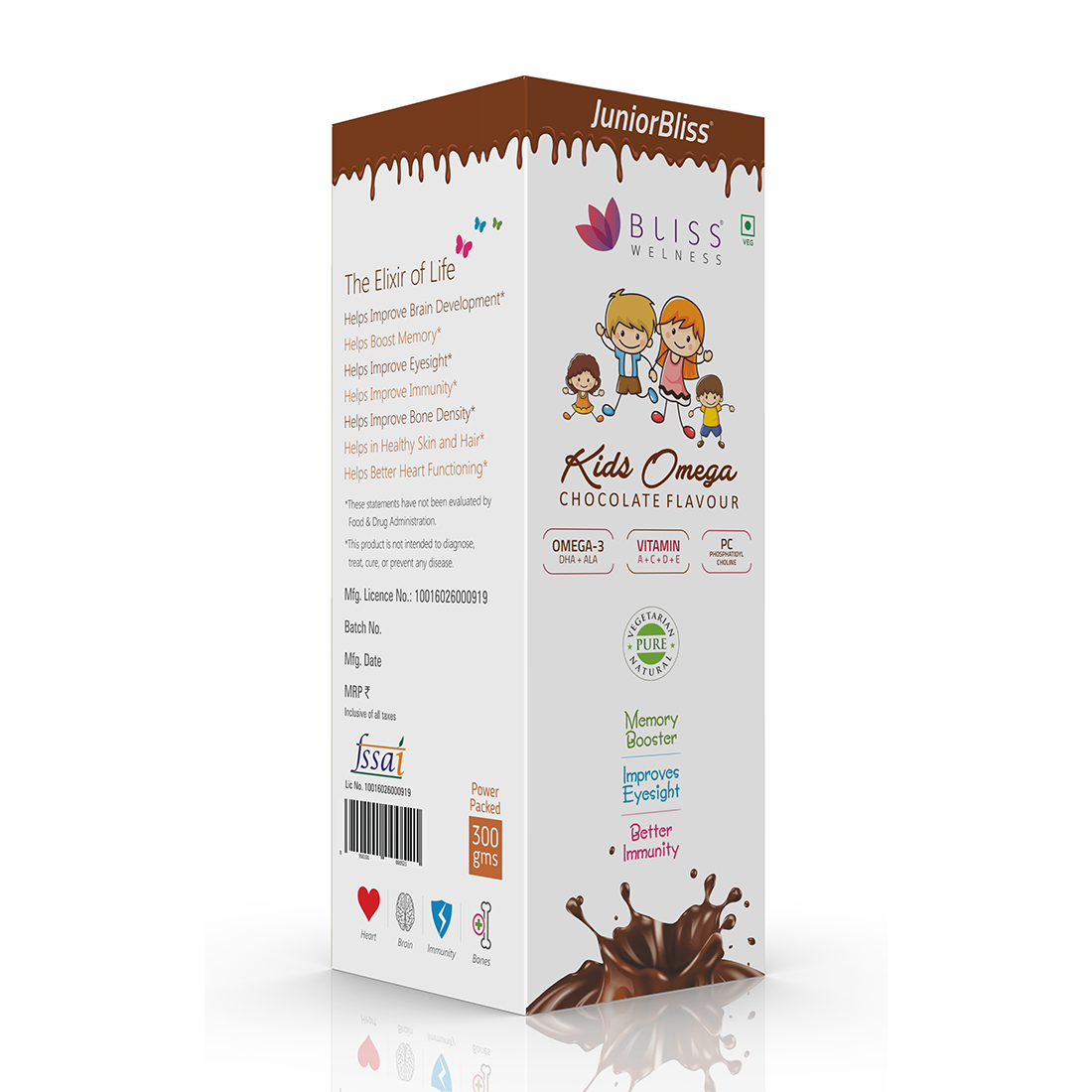 Bliss Welness 'JuniorBliss' Kids Omega 3 6 9 + DHA Chocolate Syrup with Vitamins A C D E & PC35