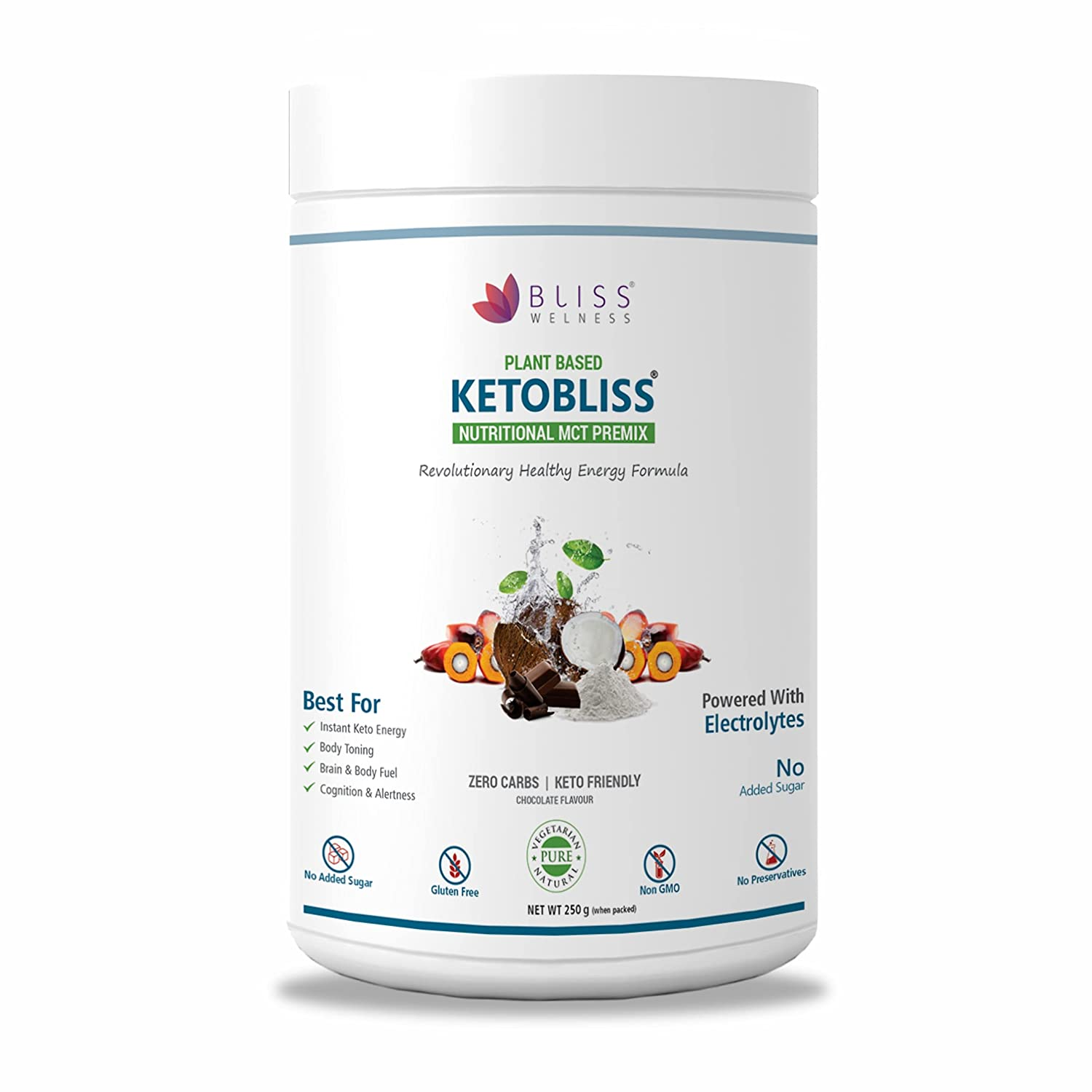 Bliss Welness Keto MCT Oil Powder Zero Carb Clean Energy for Ketosis Weight Management - Chocolate