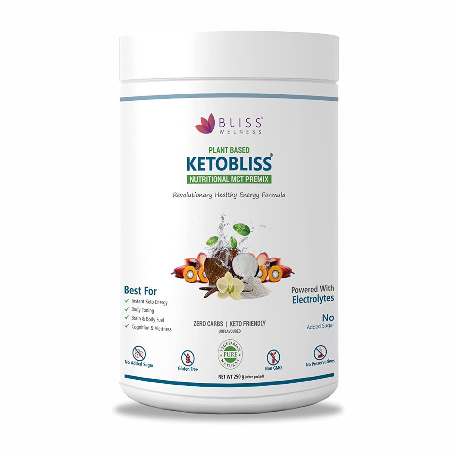 Bliss Welness Keto MCT Oil Powder Zero Carb Clean Energy for Ketosis Weight Management - Unflavored